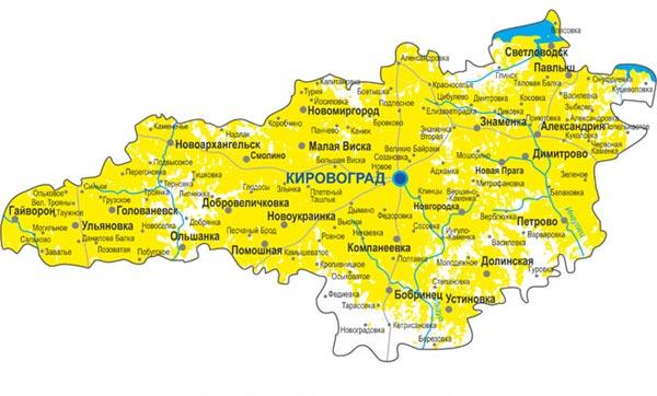 Карта кировограда позволяет найти информацию обо всех районах и улицах города